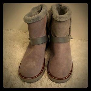 Coach Gray Muave Faux Fur Ankle Boots Size 11